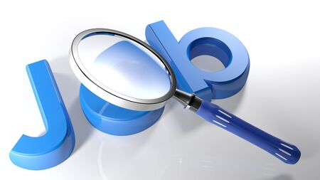 responsibility: The magnifier is passing over the blue 3D write JOB - 3D rendering Stock Photo