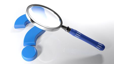The magnifier is over a blue question mark that is laying on a white surface - 3D rendering