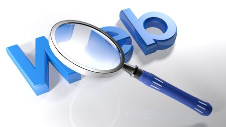 The magnifier is passing over the word Web written with blue 3D letters, laying on a white surface - 3D rendering