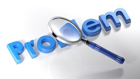 The magnifier is passing over the write Problem written with blue 3D letters on a white surface - 3D rendering