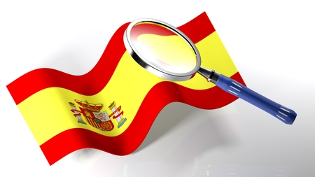 The magnifier is passing over the flag of Spain - 3D rendering Stock Photo