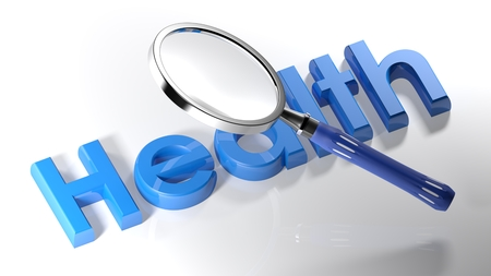 The magnifier is passing over the write Health, written with blue 3D letters, on a white surface - 3D rendering