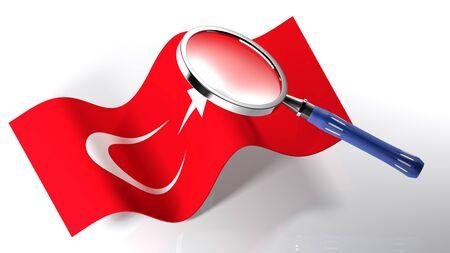トルコ - の旗を拡大鏡を通り過ぎて 3 D レンダリング