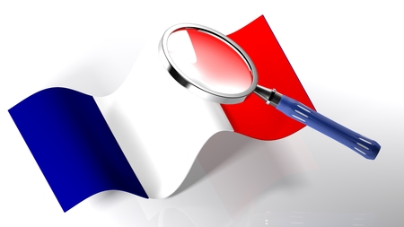 The magnifier is passing over the flag of France - 3D rendering Stock Photo