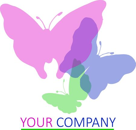 The logo for a company with butterflies