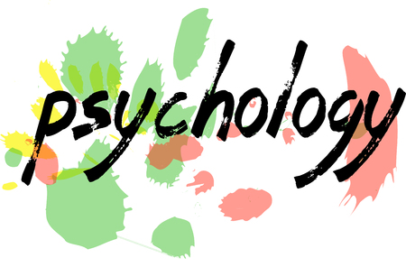 madness: Colorful spots are in the background of the word Psychology, written with a black brush.