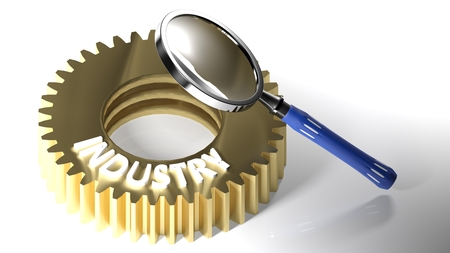The magnifier is pointed at a metallic gear having the write INDUSTRY on the upper side. 3D rendering Stock Photo