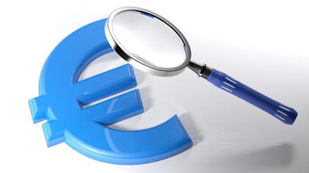 The magnifier is over the symbol of the euro symbol laying on a white surface - 3D rendering Stock Photo