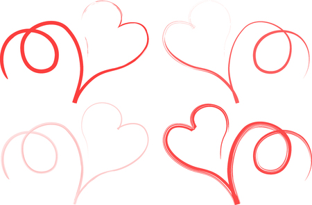 Four different red line types are tracing curly hearts in white background