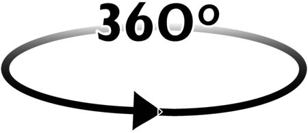 A black gradient arrow is completing the 360 ??° turning Ilustrace