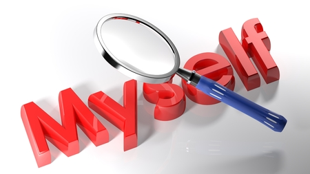 The magnifier is passing over the write MYSELF, written with a red 3D lettering on a white surface - 3D rendering