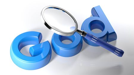 The magnifier is passing over the script GOD written with blue 3D letters on white surface - 3D rendering