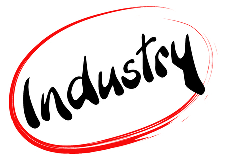 The word Industry is hand written in a red hand traced circle