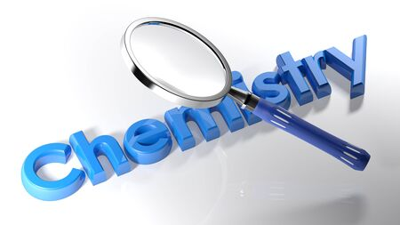 The magnifier is passing over the write Chemistry, written with blue 3D letters on a white surface Stock Photo