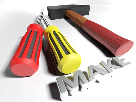 A hammer and a pair of screwdrivers are on a white surface, near the write Stock Photo