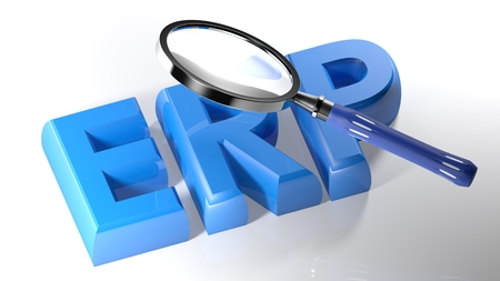 The magnifier is also passing over the ERP (a resilience of Enterprise Resource Planning) written with blue 3D letters, laying on a white surface Stock Photo