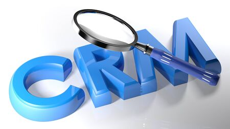The magnifier is also passing over the write CRM (a customer relationship management), written with blue 3D letters on a white surface - 3D rendering Stock fotó