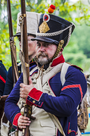 Portrait of a french napoleonic soldier in the platoon