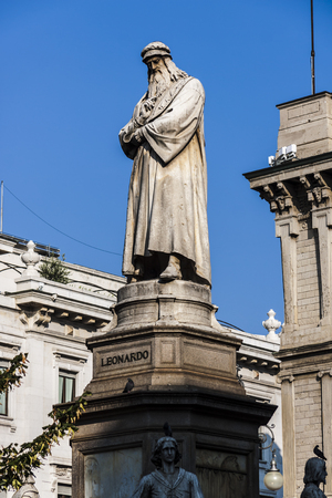 The statue of Leonardo Da Vinci in Milan (Italy), located near the La Scala Theater