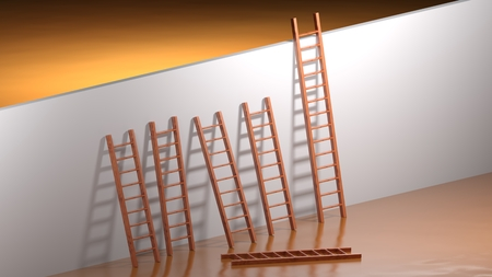 A wall to be climbed; many ladders are too short and one is fallen to ground; but the last one is long enough to succeed in overcoming the obstacle - 3D rendering Banque d'images