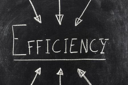 Efficiency written on the blackboard Stock Photo