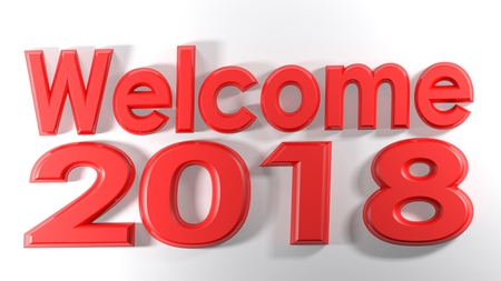 The write welcome 2018, written with red 3D letters on a white surface - 3D render