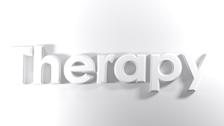 The word Therapy, written in 3D
