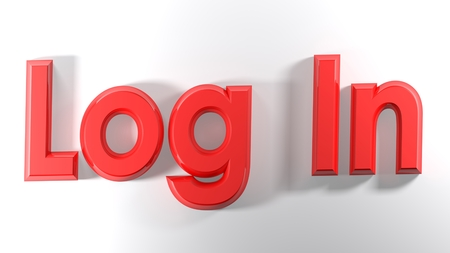 The words Log in written with red 3D letters 版權商用圖片