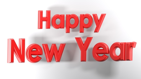 Happy New Year with red letters - 3D render Stock Photo