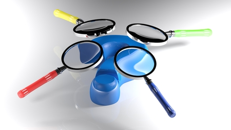 Four magnifiers having their handels differently colored - 3D render