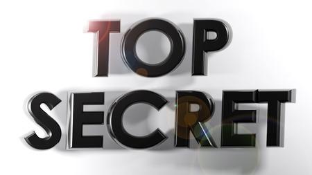 TOP SECRET black 3D write - 3D rendering Stock Photo