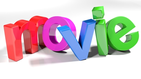 The write movie, written with colorful 3D letters, standing slightly bent on a white surface - 3d rendered illustration 版權商用圖片