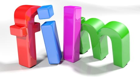 The film, written with colorful 3D letters, standing slightly bent on a white surface - 3d rendered illustration