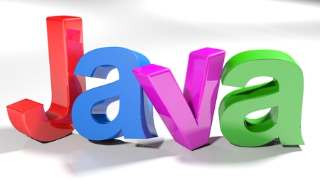 The write java, written with colorful letters standing slightly on a white surface - 3d rendered illustration Stock Photo