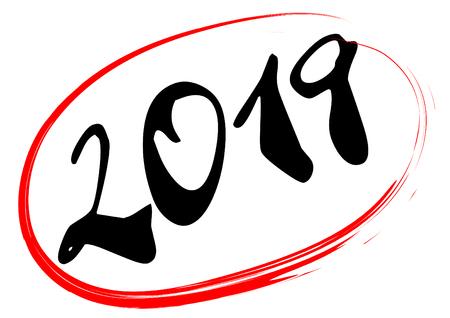 The year 2019 handwritten in black ink inside a red hand drawn ellipse.