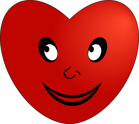 The emoticon of a smiling red heart illustration.