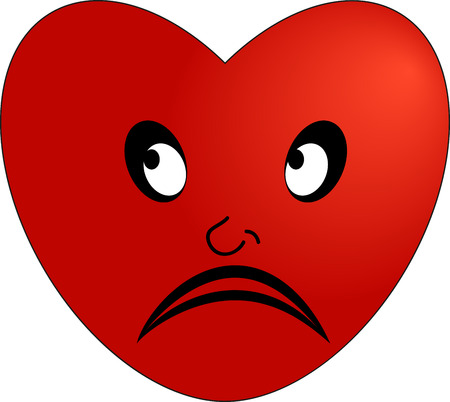 The emoticon of a sad red heart Illustration