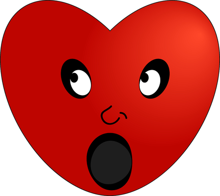 The emoticon of a surprised red heart.