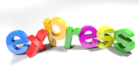 Colorful express write - 3D rendering Stock Photo