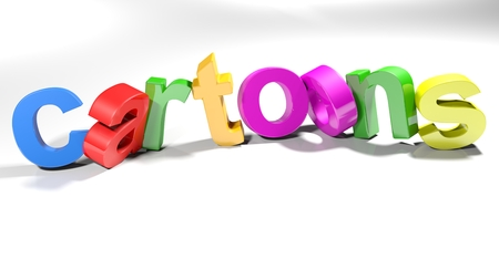 Thw word cartoons, written with colorful 3d letters, slightly bent, on a white surface - 3d rendered illustration 版權商用圖片