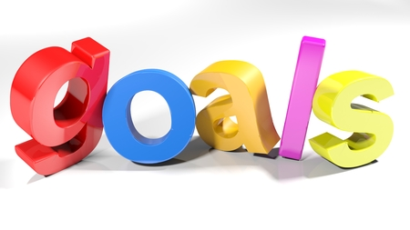 The word goals, written with colorful 3D letters standing, slightly bent, on a white surface - 3d rendered illustration