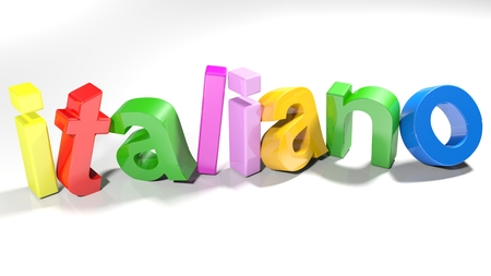 The word Italian, written with 3D colorful letters, slightly bent, on a white surface - 3d rendered illustration 스톡 콘텐츠