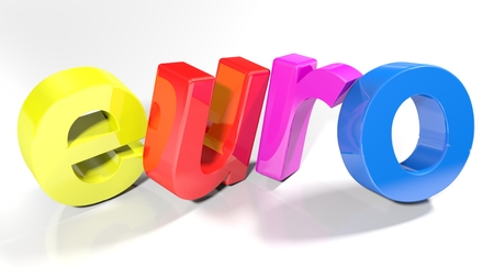 Euro, written with colorful 3d letters, slightly bent, on a white surface - 3d rendered illustration