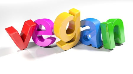 The word vegan, written with 3D colorful letters, standing slightly bent on a white surface - 3d rendered illustration
