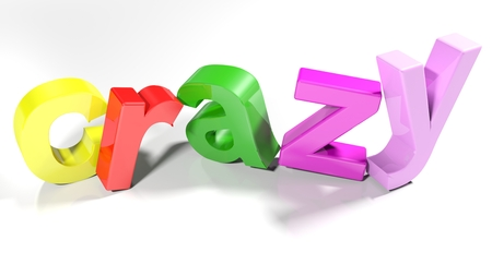 The word crazy, written with 3D colorful letters standing slightly on a white surface - 3D rendered illustration
