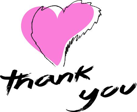 Schets van roze hart met met de hand geschreven dank u. Stock Illustratie