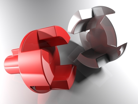 A project for a mechanical axial joint. Both parts of the joint are made of glossy plastic; one is red and the other is white. 3D rendered illustration