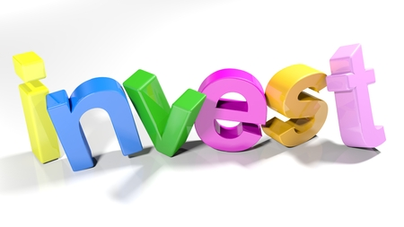 The word invest, written with colorful 3D letters, slightly bent, on a white surface - 3d rendered illustration