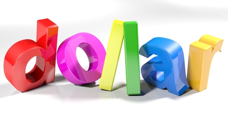 The word dollar written with 3d colorful letters, slightly bent, on a white surface - 3d rendered illustration