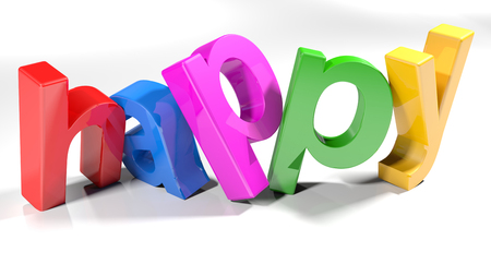 Colorful happy 3D write - 3D rendering